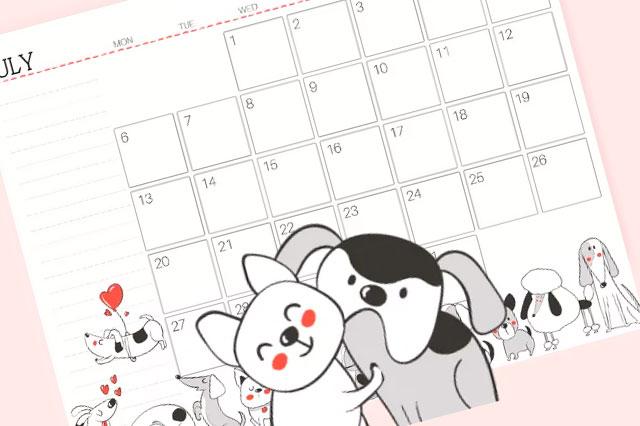 [FREEBIE] Calendário de cachorro 2019